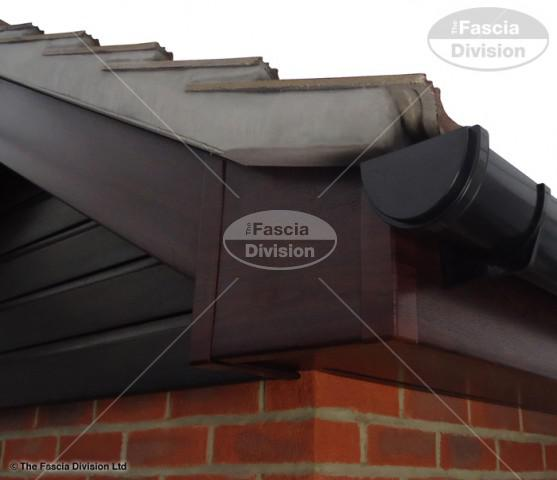 Rosewood Fascia Rosewood Soffit UPVC Black Deep Round Guttering