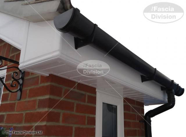 White Ogee Fascia White Tongue and Groove Soffit UPVC Black Deep Round Guttering
