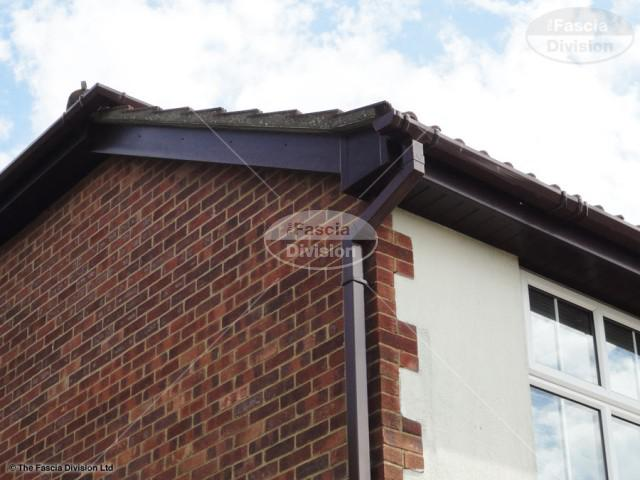 rosewood fascia rosewood tongue and groove soffits brown square guttering locks heath southampton
