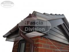 white tongue and groove soffit upvc brown round guttering 0052