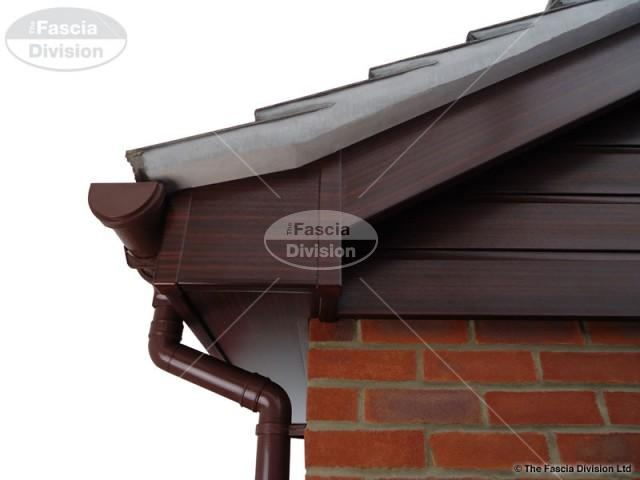 UPVC Mahogany Fascia and Soffit, UPVC Brown Deep Round Guttering