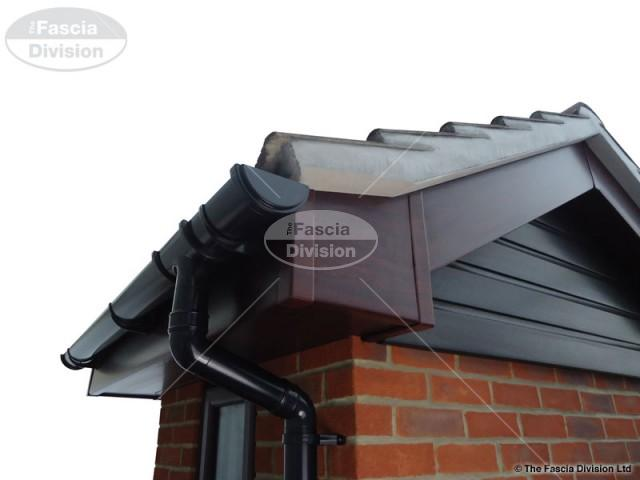 Rosewood Fascia Rosewood Soffit UPVC Black round Guttering