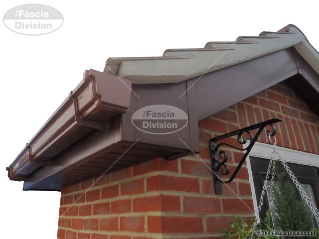 UPVC Rosewood Fascia and Tongue and Groove Soffit, UPVC Brown Ogee Guttering