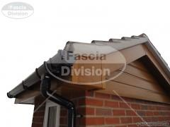 UPVC Light Oak Tongue and Groove Soffit, UPVC Black Deep Round Guttering