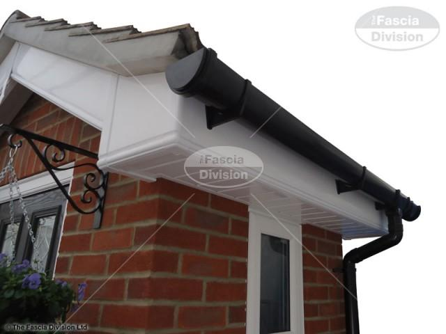 UPVC White Ogee Fascia and Tongue and Groove Soffit, UPVC Black Deep Round Guttering