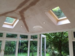 Internal view of Equinox warm roof system with plaster in Wockingham