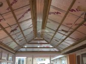 Solid conservatory roof installation showing insulation in Swindon, Wiltshire