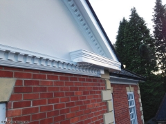 Bespoke decorative fascia with dentil mouldings installation