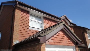 brown downpipe guttering fascias soffits Rosewood halfround new installation