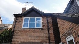 Berkshire recent full replacement rooftrim black ash fascias soffits and guttering downpipe