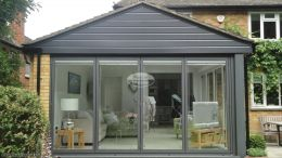 UPVC anthracite shiplap cladding on extension