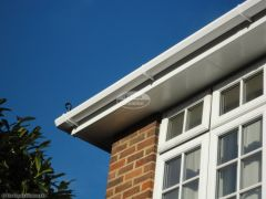 View from the ground of new UPVC fascia, soffit and guttering