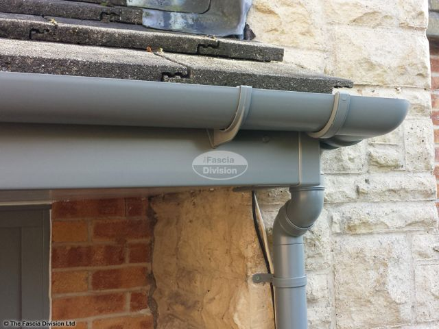 UPVC grey guttering and grey fascia installation