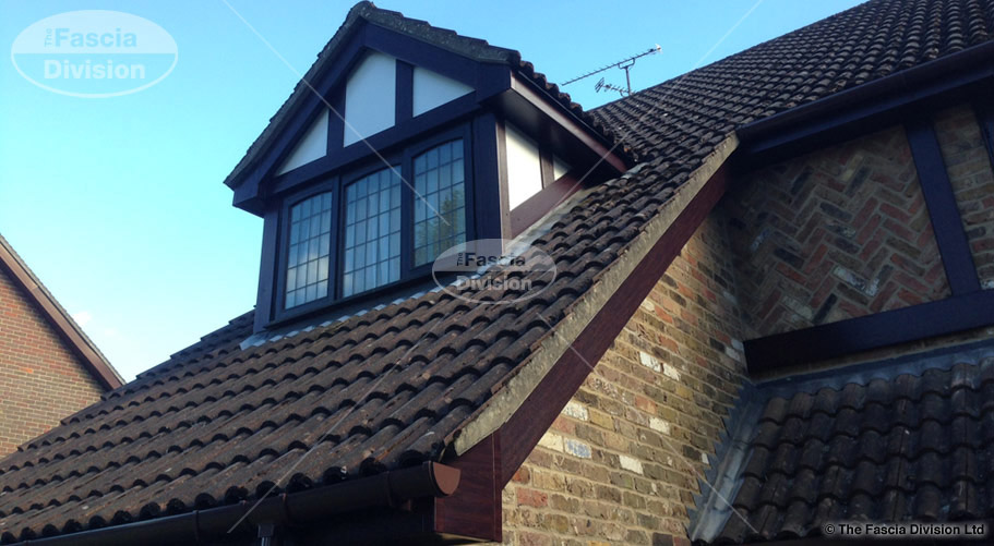 UPVC rosewood fascias soffits brown deep round guttering fascia division so